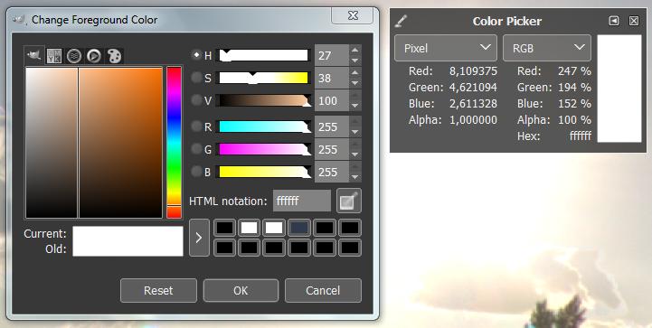 GIMP color selection widget