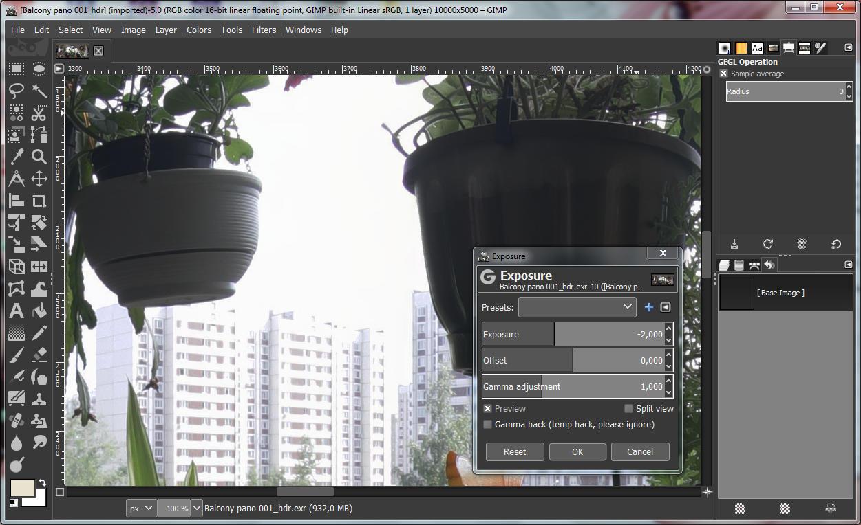 EV HDR correction in GIMP