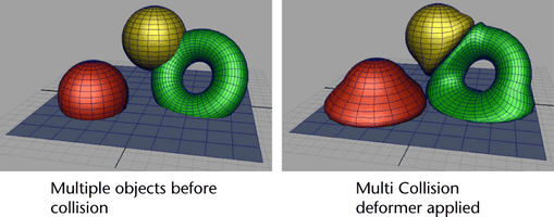 Maya multi-object collision