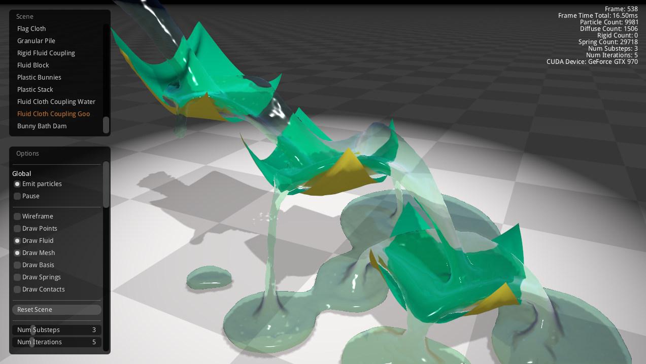 FleX unified solver: cloth and liquid