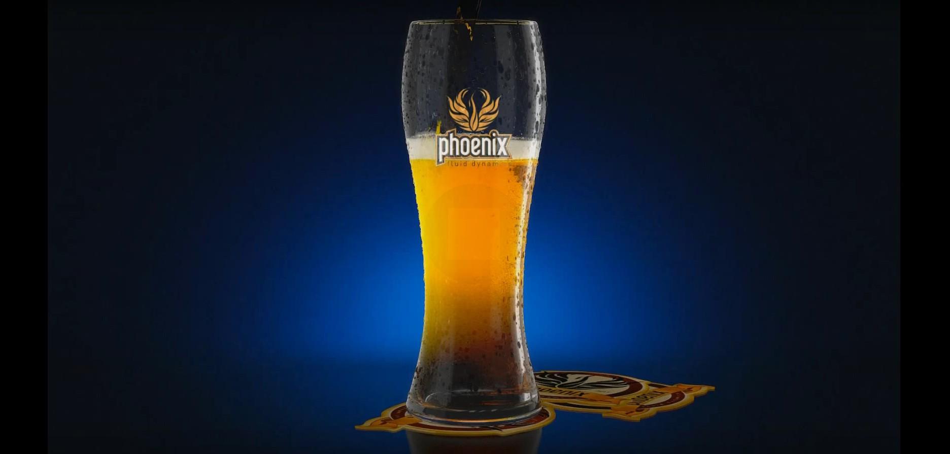 Phoenix FD beer with foam