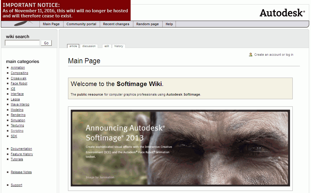 Good bye XSI Softimage Wiki