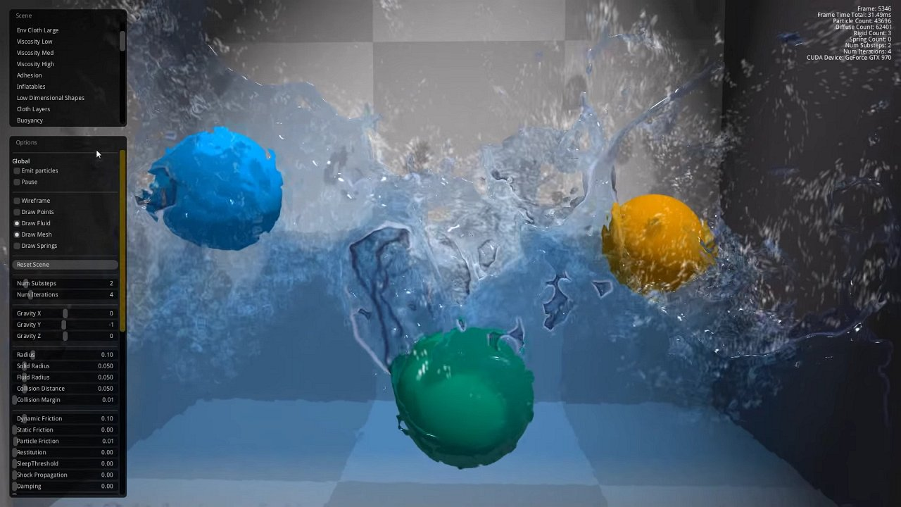 NVIDIA FleX fluid simulation