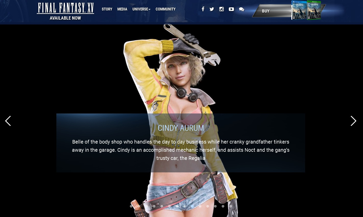 FFXV Cindy at FFXV website