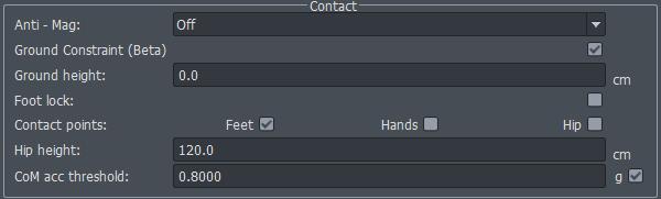 AXIS Neuron contact modes