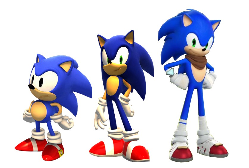 three Sonic the Hedgehog designs