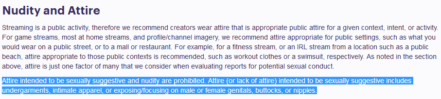 twitch community guidelines regarding  attire